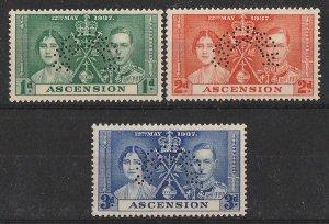 ASCENSION : 1937 KGVI Coronation set 1d-3d SPECIMEN. MNH **.
