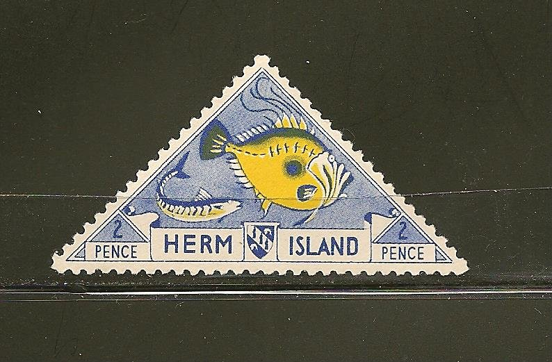 Great Britain Herm Island Local Post 4P Triangle Stamp MNH