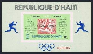 Haiti 616Q sheet,MNH.Mi Bl.36.Olympic Marathon Winners,1969.Germany #B86 stamp.