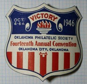 OPS Victory Convention 1946 Oklahoma City OK Patriotic Shield Souvenir Ad Label
