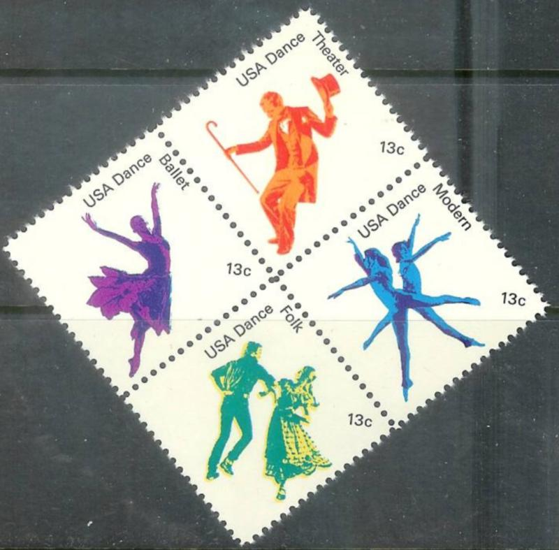 USA 1978 13 cents Dance Block of 4 Mint Never Hinged, Scott#1749-52