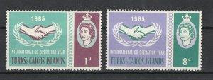 Turks & Caicos Isl. MNH 144-5 International Cooperation Year 1965