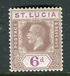ST.LUCIA; 1921 early GV issue fine Mint hinged Shade of 6d. value