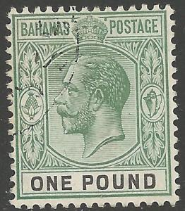 BAHAMAS SG89 1912 £1 DULL GREEN & BLACK FINE USED