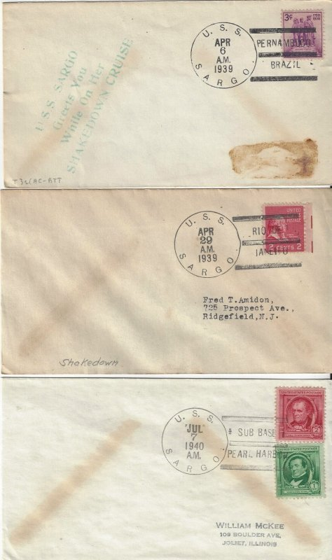 US Naval Cover USS Sargo  SS188  1939 (2) Shakedown Cruise, 1940 Pearl Harbor