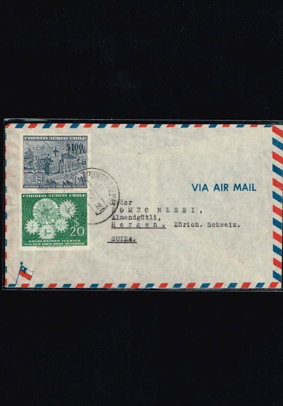 R) 1957 CHILE, PUNTA ARENAS SWITZERLAND AIR MAIL