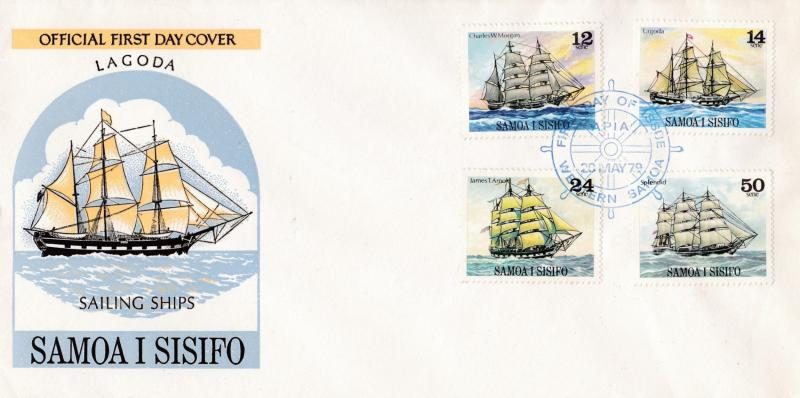 Samoa 1979 Set of Four Sailing Ships complete on Official FDC Color Cachet Clean