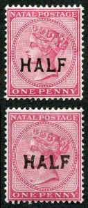 Natal SG125 HALF of 1d two different printings (one stamp gum crease) Fine and