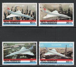British New Hebrides 1978 1st Commercial Flight Concorde Scott # 254 - 257 MNH
