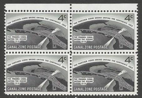 US CANAL ZONE 157 MNH BRIDGE BLOCK OF 4 [D1]