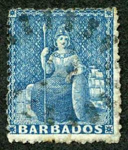 Barbados SG44 1870 (1d) Blue wmk Large Star Rough Perf 14 to 16 Fine used