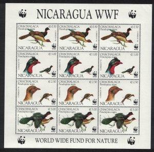 Nicaragua Birds WWF Highland Guan Sheetlet of 3 sets D1 SG#3509-3512