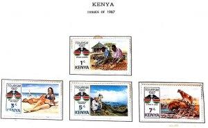 A) 1987, KENYA , SET OF 4, TOURISM AKAMA WOOD CARVERS, BEACH, PANORAMICS, LION,