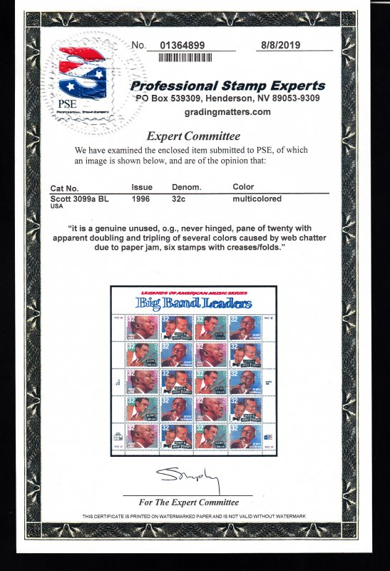 3096-99 Pane of 20 Doubled impression. W/Cert Nice!