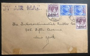 1948 Penang Malaya Airmail Commercial Cover To Rubber Co New York USA