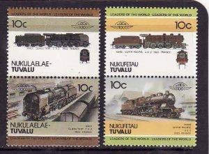 Tuvalu-Nukufetau-Sc#26-7- id5-unused NH Trains-Locomotives-1985-8-