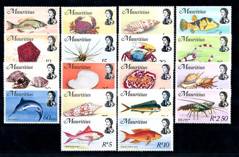 [49772] Mauritius 1969 Marine life Fish Lobster Crabs 18 Values MNH