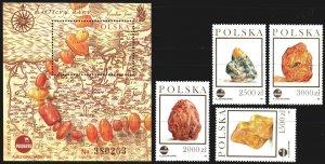 Poland. 1993. 3426-29, bl 121-3. Amber. MNH.
