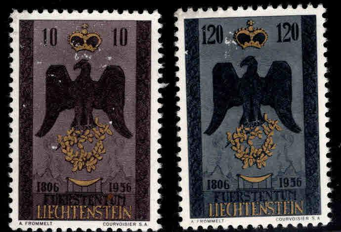 LIECHTENSTEIN Scott 301-302 MNH** 1956 set Scuffed