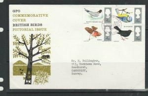 GB FDC 1966 Birds Ord, Illus, Bureau cancel, Typed address