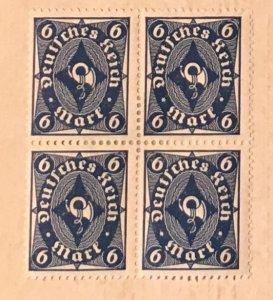Germany 189, 6 pfennig, Horn, mint block hinged, Vic's Stamp Stash