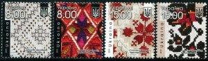 HERRICKSTAMP NEW ISSUES UKRAINE Sc.# 1224-27 Embroidery 2019