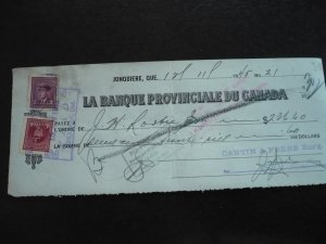 Canada - Revenue - KGVI War Issue Stamps on cheque dated 1945
