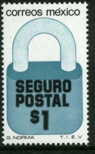 MEXICO G26, $1P Padlock Insured Letter Unwmk Fluor Paper 5. MINT, NH. VF.