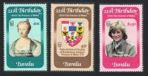 Tuvalu 21st Birthday of Princess of Wales 3v 1982 MNH SG#184-186