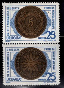 Uruguay Scott 792-793a MNH** Coin on stamp pair