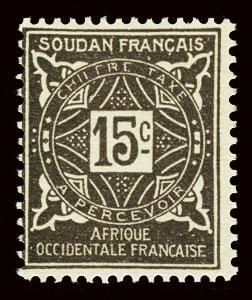FRENCH SUDAN Scott #J13 1931 postage due unused OG H gum loss