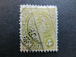 A4P27F131 Letzebuerg Luxembourg Official Stamp 1895 4c used Perfin