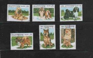 CAMBODIA #1804-1809 1999 DOGS MINT VF NH O.G CTO
