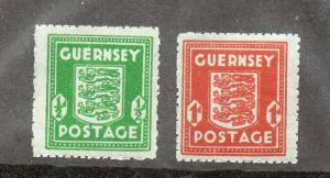 Guernsey - SG # 4 & 5 / wmk W1a sideways/ bluish paper - Lot 0319088