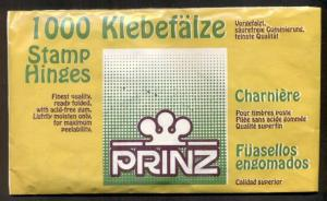 PRINZ STAMP HINGES 1,000 in pack, ready folded - BRAND NEW, UNOPENED