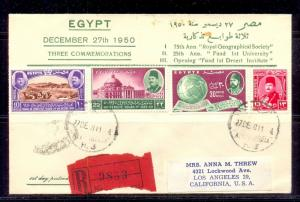 EGYPT -1950 The 25th Anniversary of Fouad I University First Day Cover FDC 1