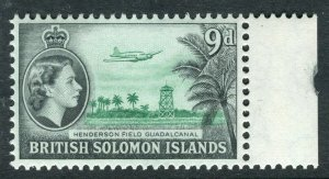 BRITISH SOLOMON ISLANDS; 1953 early QEII issue fine mint hinged 9d. value