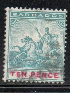 Barbados Sc 78 1892 10d blue green & carmine seal of colony stamp used