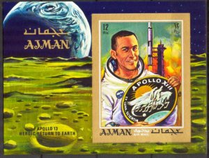 UAE Ajman 1970 Space Apollo XIII S/S Imperf. MNH**
