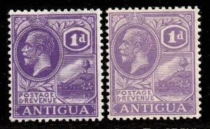 Antigua 1921 KGV 1d bright violet + 1d mauve SG 64, 64a mint