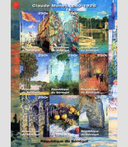Senegal 1999 CLAUDE MONET Paintings Sheet Imperforated Mint (NH)