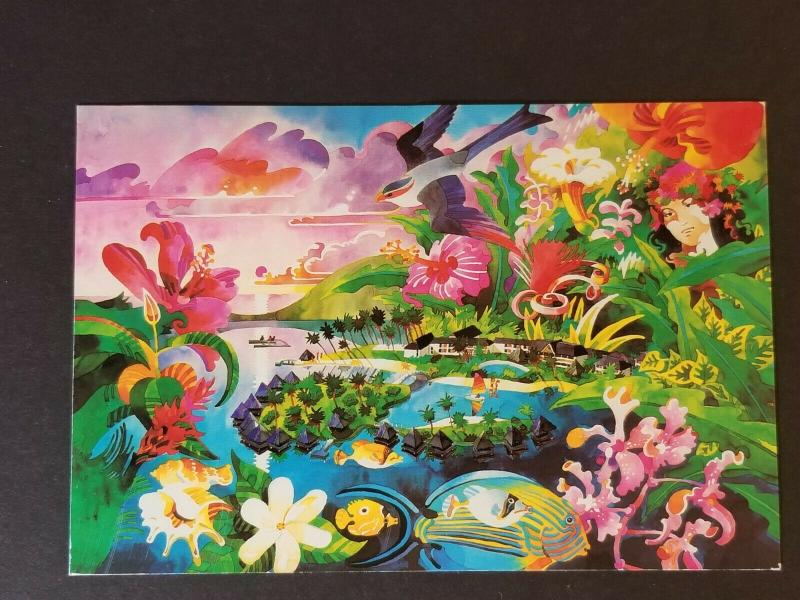 1986 Tahiti Bedford Texas Colorful Postcard Beachcomber Hotel Advertising Cover