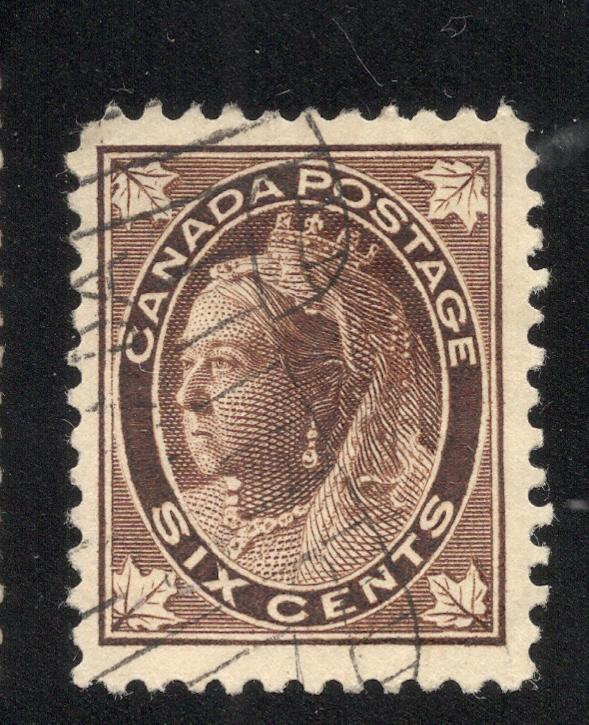 #71 - 6 Cents Brown - Light Canada Scroll Cancel