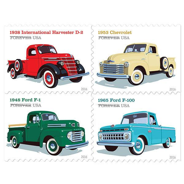 2016 47c Pickup Trucks, Artist Chris Lyons, Block of 4 Scott 5101-04 Mint VF NH