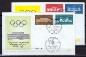 Germany, Scott cat. B459-B462. Munich Bldgs, Olympics Surtax. 2 First day covers