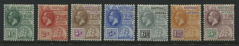 British Guiana KGV 1913 various values to 24 cents mint o.g.