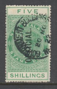 New Zealand Sc O39v, SG O86 used. 1915 5sh yellow green QV Official, sound