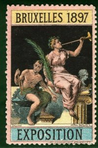 BRUSSELS EXHIBITION STAMP/LABEL Belgium 1897 *MULTICOLOUR* Printing MM B2WHITE30