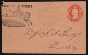 #U10 ENTIRE ON PACIFIC EXPRESS Co, COVER WITH HANDSTAMP BR6927 HSSR65644