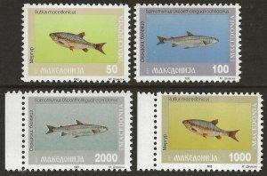 Macedonia 1993 Fish Set #8-11 VF-NH CV $10.80
